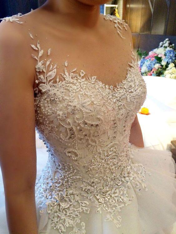 Corsetery detail for Siska Lie wedding dress…handmade using pearl, crystal and swarovski