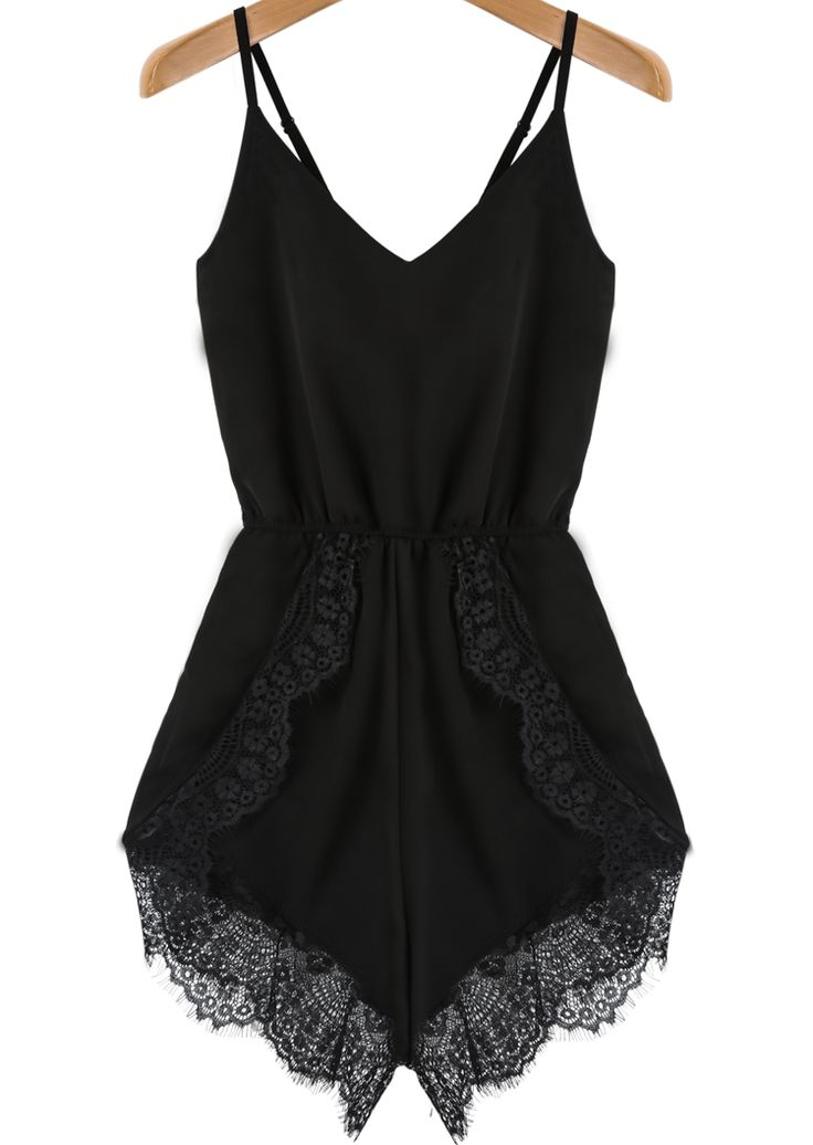 Online shopping for Black Spaghetti Strap Lace Chiffon Jumpsuit from a great selection of women's fashion clothing & more at MakeMeChic.COM.