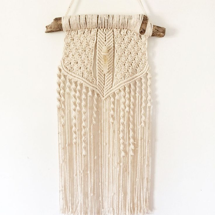 Macrame wall hanging infused with a LEMON QUARTZ crystal. 'Raw Chords'.Buy now www.heartandhandscreations.com