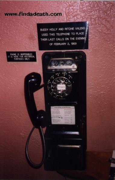 The telephone at the Surf Ballroom where Buddy Holly and Ritchie Valens made their last calls.     (Holly called his wife, Maria Elena, and Valens spoke to his brother, Robert Morales.)
