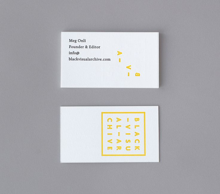 Logo and business card with deboss print finish designed by Fivethousand Fingers for Black Visual Archive, an on-line collection of critical texts on African American artists.