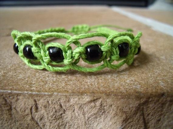 Lime Green and Black Glass Beaded Bracelet by AllyNova on Etsy, $5.95