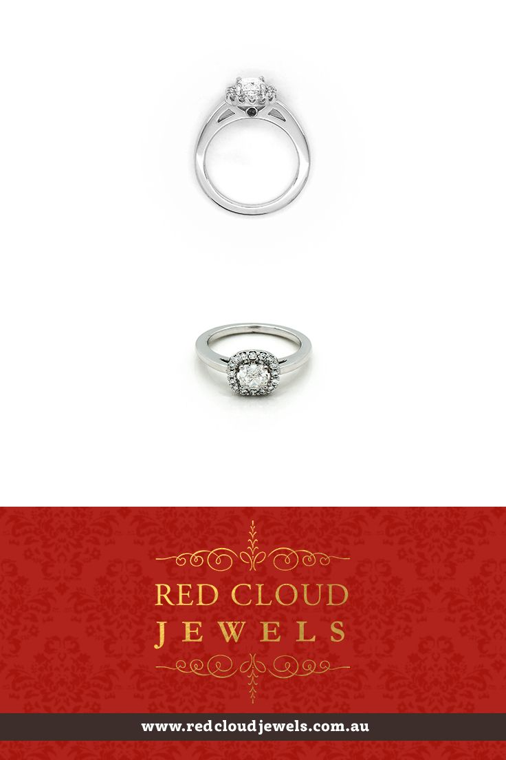 This is our latest addition, an engagement ring that will take your breath away. A 0.91ct cushion cut diamond, surrounded by a halo off brilliant cut round diamonds, set in 18ct white gold. Red Cloud Jewels - Outstanding Jewellery for Outstanding Individuals | www.redcloudjewels.com.au