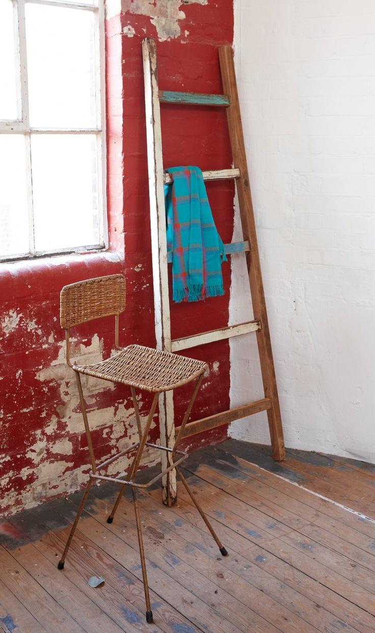 ladder: Reclaimed Wooden, Wooden Ladders, Benches, Bathroom Inspiration, Ladder Boards, Clothing, Big Bathroom, Vintage Ladder, Ladder Ideas