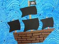Deep Space Sparkle – Pirate Ship Art lesson for Fourth Grade