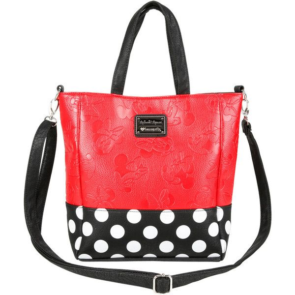 Disney Loungefly Disney Minnie Mouse Polka Dot Tote Bag ($52) ❤ liked on Polyvore featuring bags, handbags, tote bags, tote purses, disney handbags, polka dot tote bag, bow tote and handbags totes