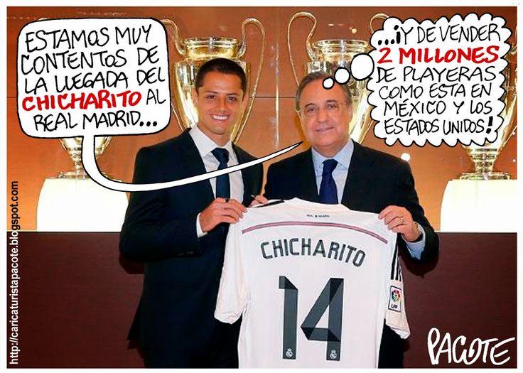 CARICATURISTA PACOTE: LA PLAYERA DEL CHICHARITO EN EL REAL MADRID