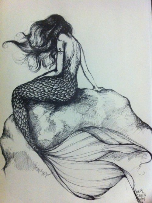 mermaid tattoo | would love in bright shades of blue/turquoise just a pop with the black/white would be beautiful!