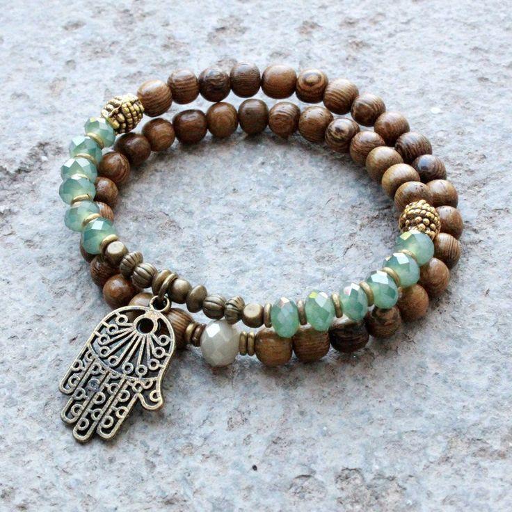 Bracelets - Protection, Wood And Green Crystal 54 Bead Wrap Mala Bracelet With Hamsa Hand