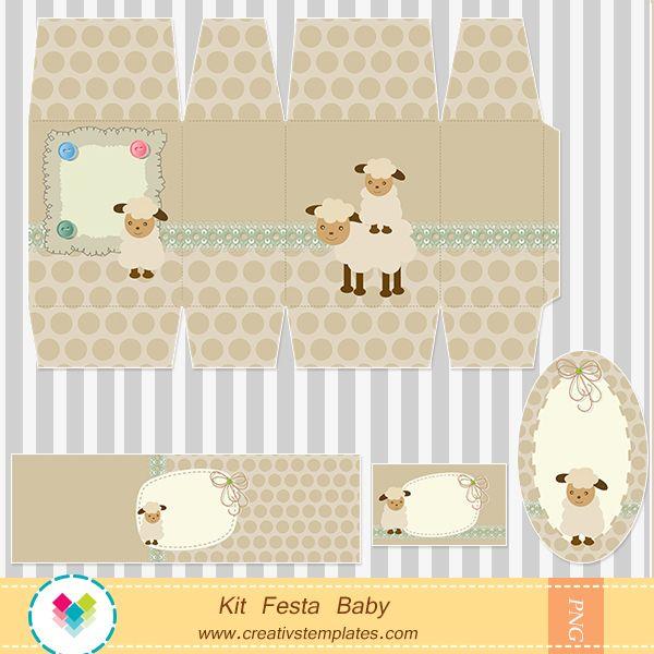 Arte para personalizar festa no tema ovelhinha para menino - Chá de Bebê   Creativstemplates