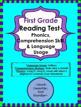 First Grade Reading Test aligned to Common Core   Higher ...