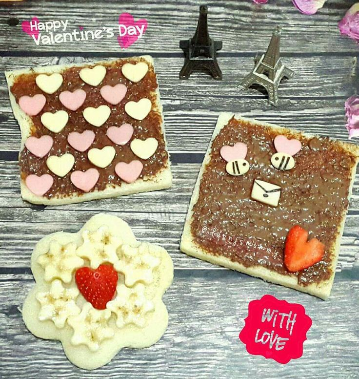 Valentine's Sandwich With Strawberry Cheese