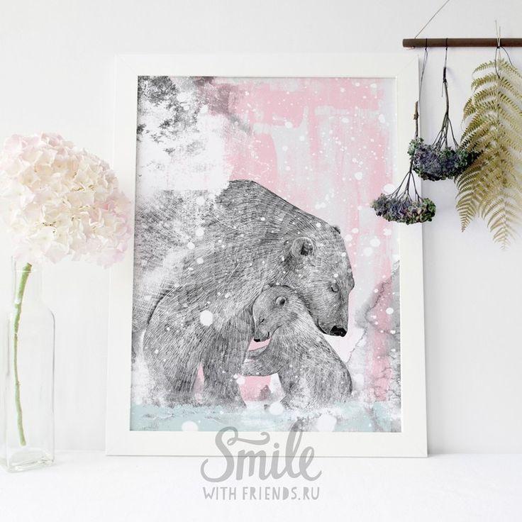 Белые медведи - мама с ребенком