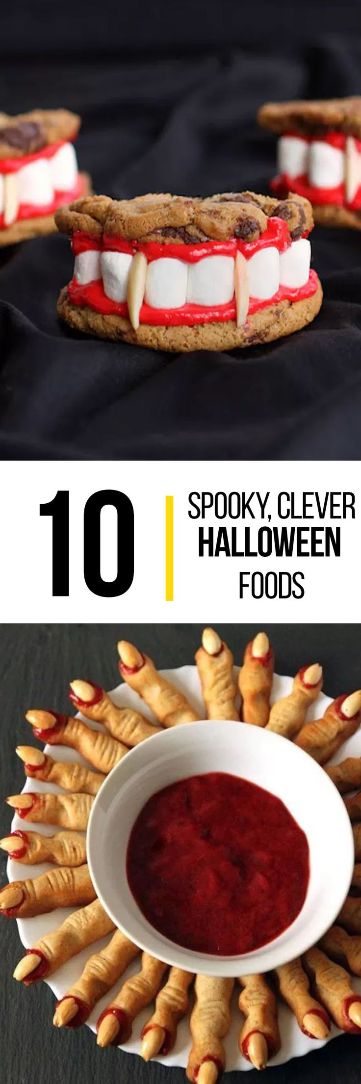 Make your food match the spooky celebration this Halloween with these 10 spooky, yet clever halloween-themed foods to serve. This roundup has some of the most creative Halloween food ideas from treats to appetizers, you'll up your party game and make this a spooktacular event.