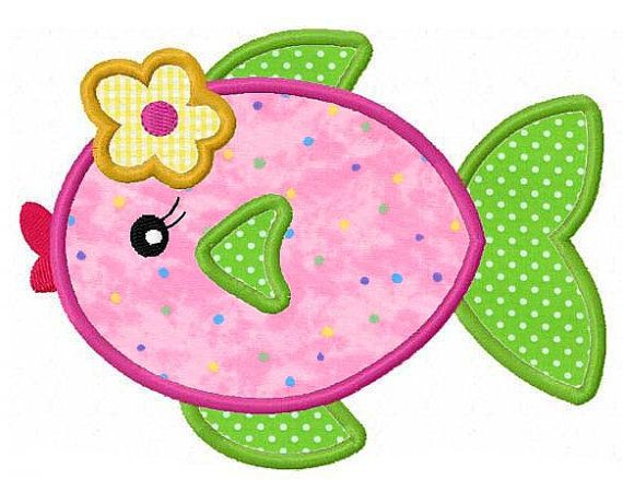 Girly fish applique machine embroidery design by FunStitch on Etsy, $4.00