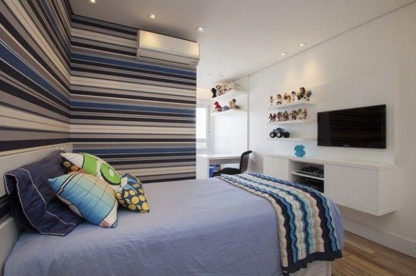 Decoração de quartos de meninos (crianças!) Surf  ~ Quarto Solteiro Azul E Branco