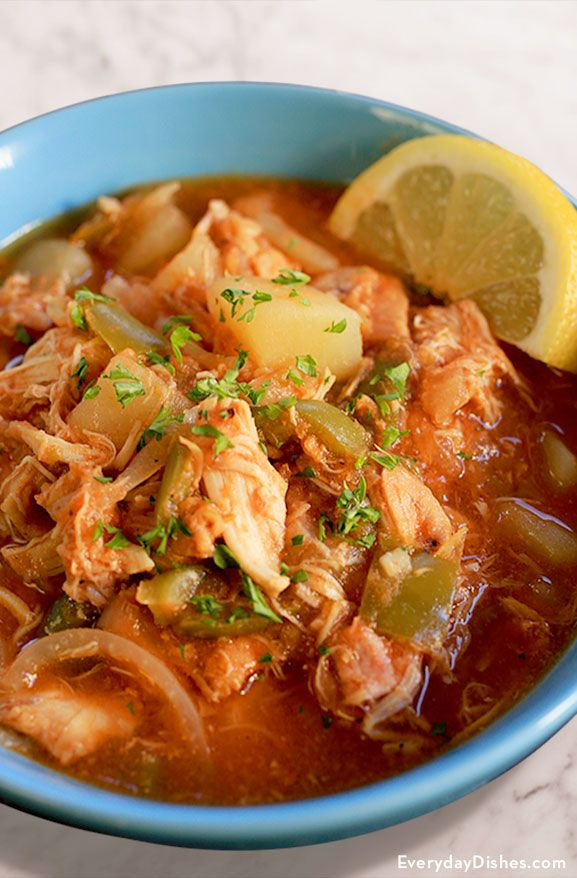 Our Everyday Dishes slow cooker Cuban-style chicken stew checks all the boxes, plus it only takes 10 minutes to prepare—the slow cooker does all the work!