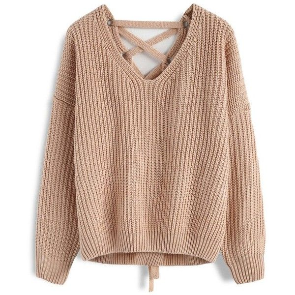 Chicwish Focus on Lace-up Back Sweater in Light Tan ($40) ❤ liked on Polyvore featuring tops, sweaters, brown, tan sweater, brown sweater, lace front sweater, lace tie up top and chicwish tops