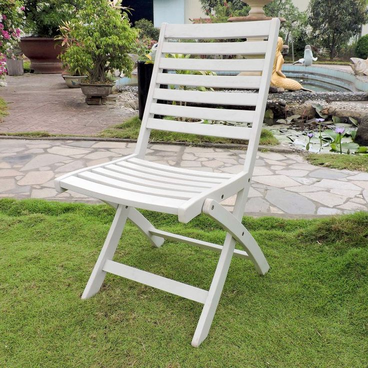 Great Outdoor International Caravan Chelsea Acacia Folding Ladder Back Patio Chair    Set Of 2 Antique White Nice Ideas