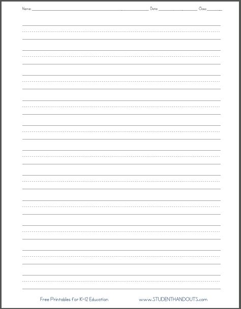 Dashed Line Handwriting Practice Paper Printable Worksheet for Primary School Kids