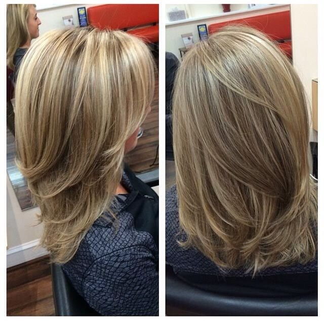 Perfect dirty blond color. Great mid length cut.