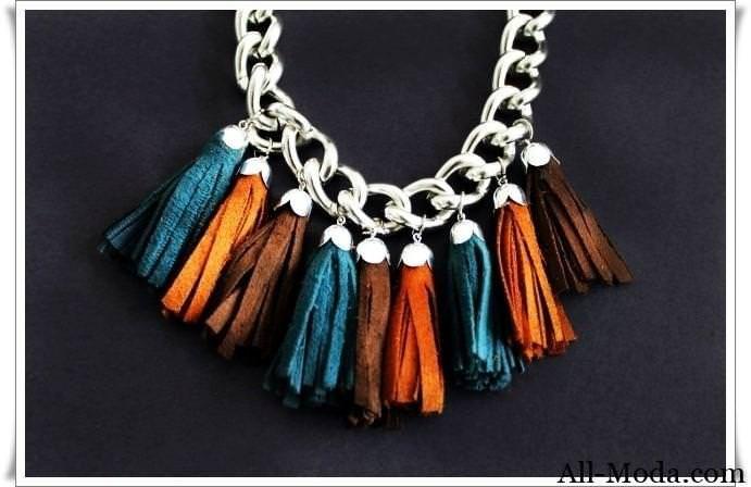 Модное кожаное ожерелье своими руками