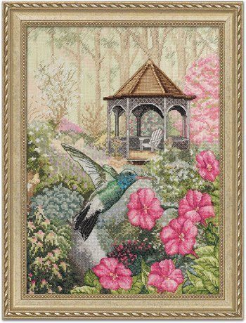 Bucilla Garden Hummingbird - Heirloom Collection - Cross Stitch Kit. Exquisite counted cross-stitch designs with fine detail and realistic shading that capture