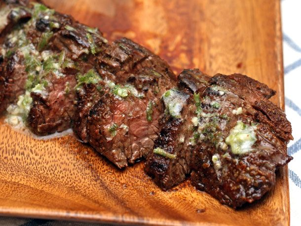 Chipotle rubbed steaks with lime butter