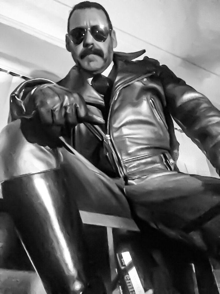 from Gary gay men in black leather