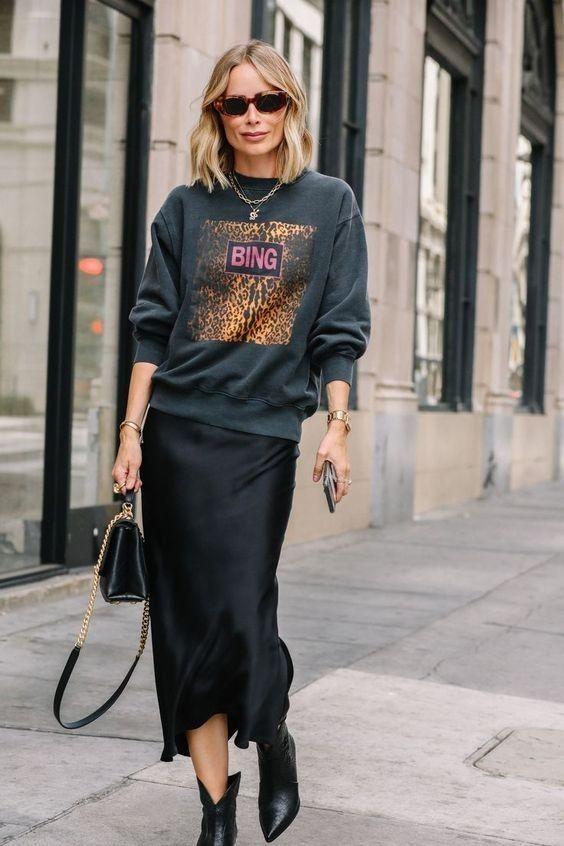 Silk skirt midi long fall look black a-line skirt outfit ...
