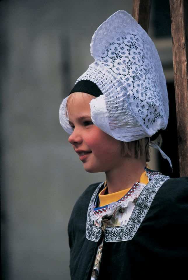 Traditional Dutch Lace Head Dress Volendam, the Netherlands