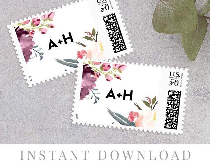 Postage Stamp Instant Download Custom Wedding Stamp
