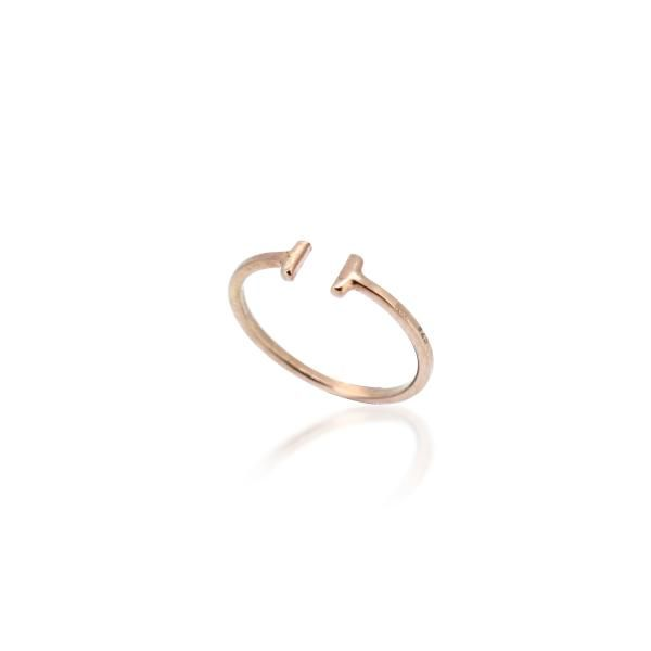 Tiny Beaten Little Finger Ring - Rose Gold by MAYA MAGAL