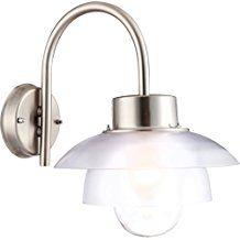 Lampe extérieure acier affiné, poli, verre, plastique clair, pour montage mural IP44, LxH:350x330, excl. 1xE27 60W 230V