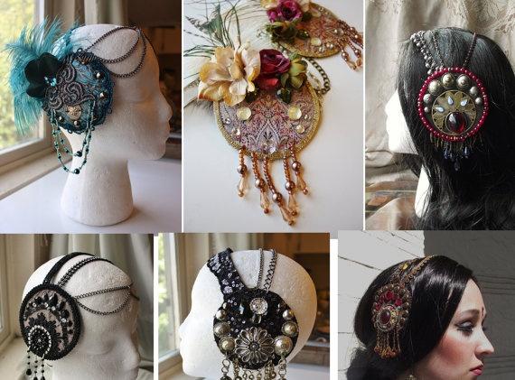 I want to make one of these!!  Custom Mucha Headdress Tribal Fusion Wedding by theverdantmuse, $75.00