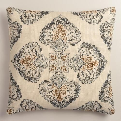 One of my favorite discoveries at WorldMarket.com: Gray Multicolor Medallion Print Jute Throw Pillow to create cohesion between sectional and leather sofas