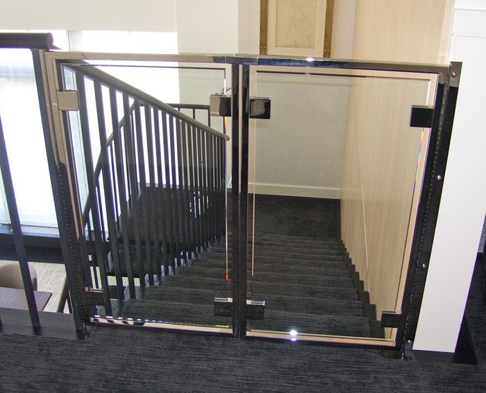 Soooo Awesome.      MM Stainless and glass baby gate | Misc Custom Furniture | Furniture | Product Gallery | Morgik Metal Designs