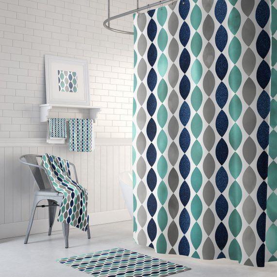 Bathroom Shower Curtain Navy Grey Gray Teal Bath Decor Etsy
