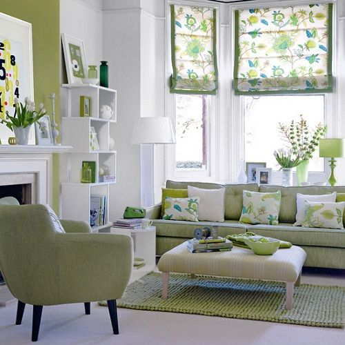 Sage green and white living room. It is not that easy to decide what to put with my green couch.