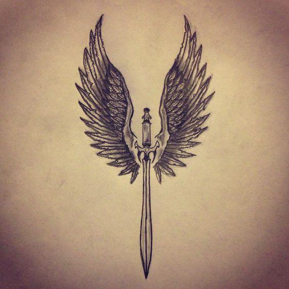 Angel Wings / Sword tattoo sketch by - Ranz: