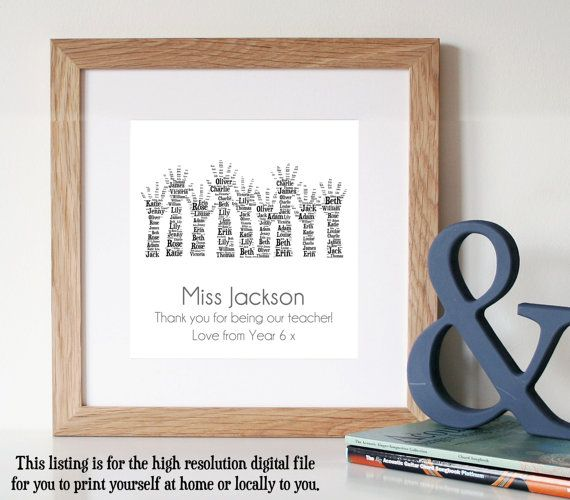 Personalised TEACHER GIFT  Printable Art  Gift by WordlyDesigns