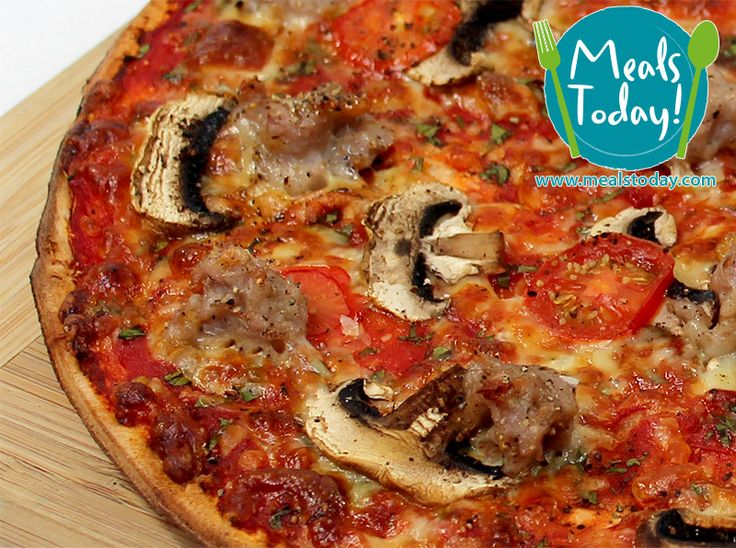 Italian Sausage Pizza with Parsley, Field Mushrooms, Italian Sausage and Cherry Tomatoes.  Available to order now, for delivery on Tue 18th November  www.mealstoday.com    #mealstoday