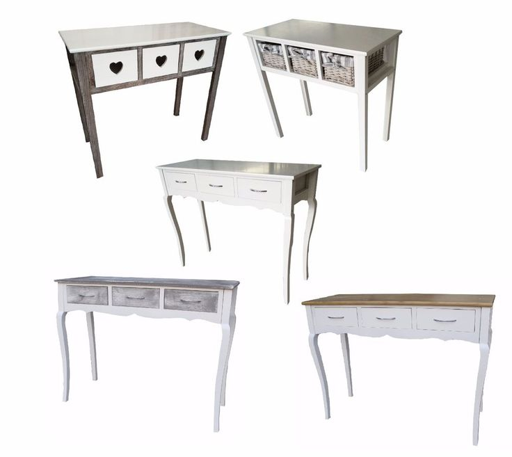 3 Drawer Shabby Chic Dressing Table Wood Hallway Bedroom Furniture Console Table