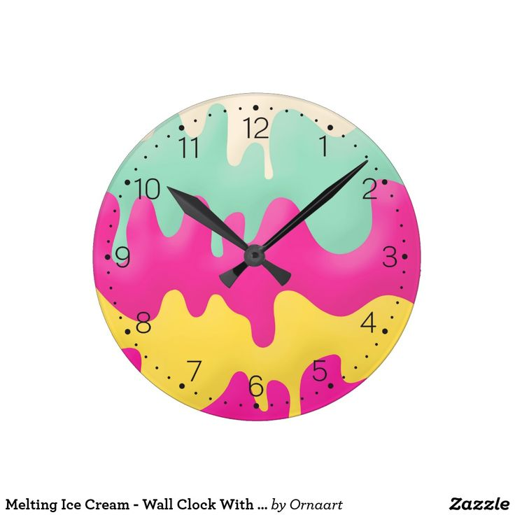 Melting Ice Cream - Wall Clock With Numbers