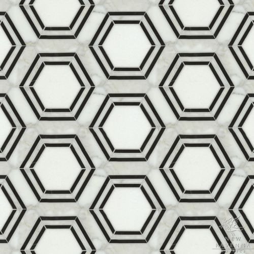 Hexagon Tiles Mosaic Black White New Ravenna Mosaics Bathrooms Pinterest Hexagons