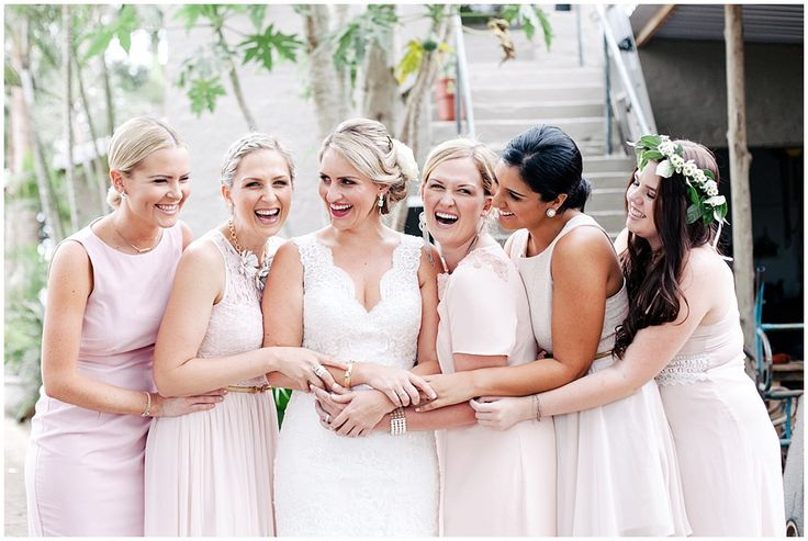 www.vanillaphotography.co.za | Maroupi wedding venue, Ballito, Durban wedding photographer, bride & bridesmaids, group shot, pink bridesmaids dresses, different styles of bridesmaids dresses, flower crown, lace wedding dress