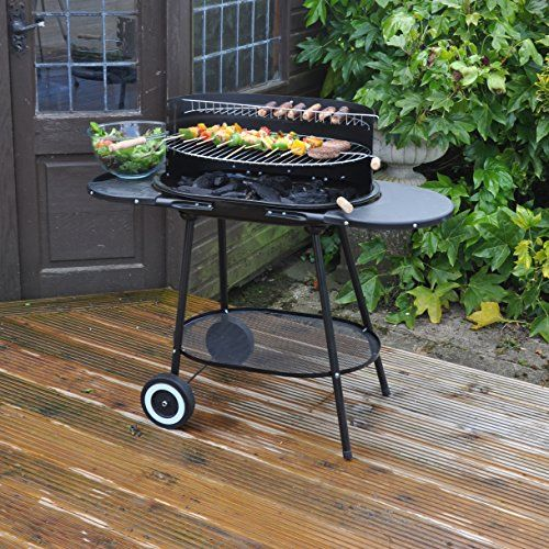 Kingfisher-Oval-Steel-Trolley-Garden-Barbeque