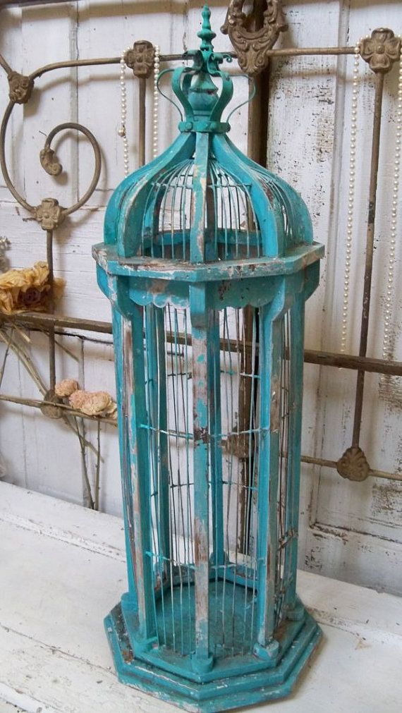 Large birdcage tall chippy painted blue mix distressed wood  wire shabby chic home decor Anita Spero
