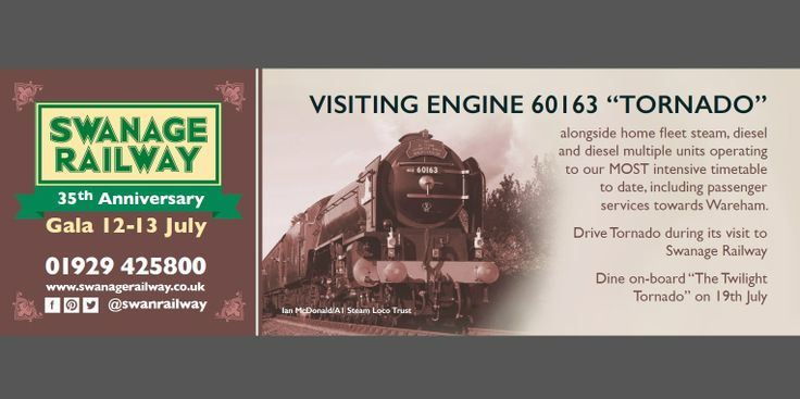 Join with us to celebrate 35 years of running heritage trains - special events 12-13 July and 19th July!! More details on www.swanagerailway.co.uk