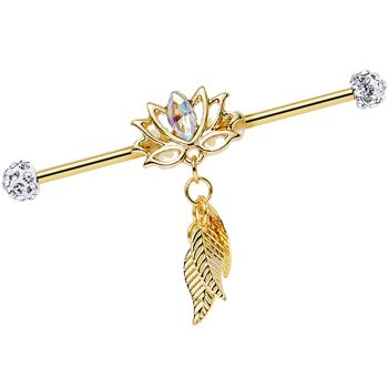 Clear Gem Gold Anodized Flowing Lotus Dangle Industrial Barbell 38mm   Body Candy Body Jewelry